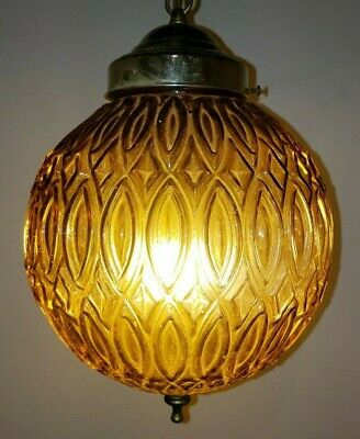 Vintage Mid Century Swag Amber Glass Relief Pattern Globe Pendant Lamp