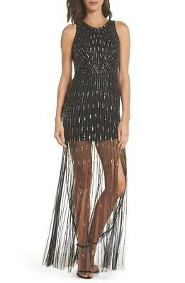 New $490 Adrianna Papell Womens Black Sequined Beaded Skirt Gown Dress Size 6