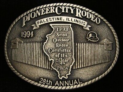 Qb13132 *Nos* Vintage 1994 **28Th Pioneer City Rodeo** Solid Brass Belt Buckle