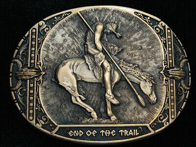 Qf11154 Vintage 1980 **End Of The Trail** Indian Art Solid Brass Belt Buckle