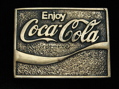 Qb09173 Vintage 1978 **Enjoy Coca-Cola** Soda Fountain Solid Brass Belt Buckle