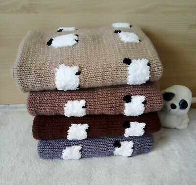 Baby blanket with sheep / Hand-knitted Favourite children wool quilt with sheep