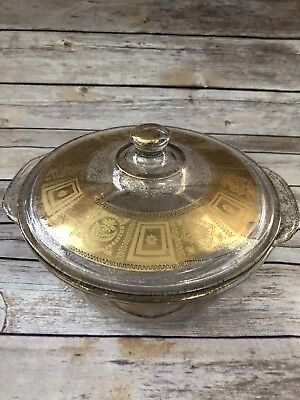 Vintage Rare Gold Fire King 2qt Covered Casserole Dish Excellent Condition