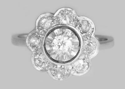 Retro 18ct Gold 1.00ct Old Cut Diamond French Art Deco Cluster Ring ca.1930/40