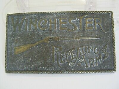 Vintage Winchester Repeating Arms New Haven Conn. Brass Belt Buckle