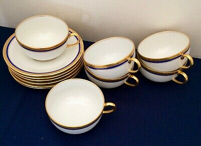 "Antique French Limoges Cups & Saucers ""Vignaud The Seville"" Cobalt Blue &.Gold"