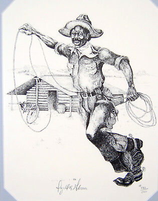 """Izell Glover - Black Cowboys lithograph - Isom Dart """"The Roper"""" signed Western"""