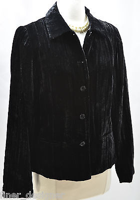 Coldwater Creek NEW Jacket Blazer button front crushed velvet lux BLACK SIZE S