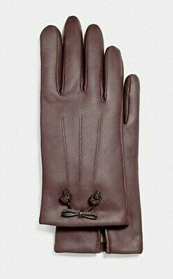 COACH Leather Merino Wool Gloves Tea Rose Bow Oxblood Brown Womens 8 F20887 $135