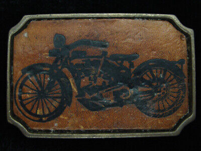 QF11109 VINTAGE 1970s *CLASSIC MOTORCYCLE* LEATHER & SOLID BRASS BTS BELT BUCKLE