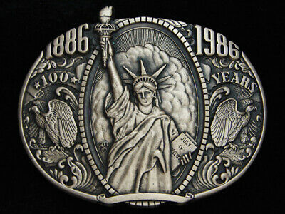 Qb09152 *Nos* Vintage 1986 **Statue Of Liberty** Centennial Solid Brass Buckle