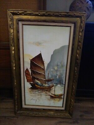Huge Original Oil Painting Signed P Wong  Chinese Junk Boats Vintage Mid Century