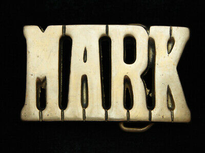 PD17125 VINTAGE 1970s CUT-OUT NAME **MARK** SOLID BRASS BARON BELT BUCKLE