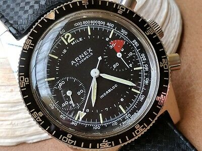 Near NOS Vintage Arnex Two-Register Chronograph w/Divers All SS Case,Tropic Band