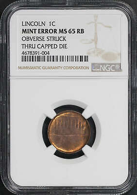 Lincoln Memorial Cent NGC MS-65 RB Obv Struck Thru Capped Die Mint Error -178042