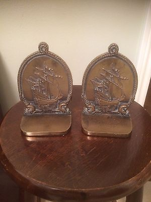 Pair Of Heavy Brass Bronze B&H Bradley &  Hubbard Nautical Ship Bookends Signed