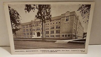 Postcard MA Springfield Commercial High School State Street George S Graves P3