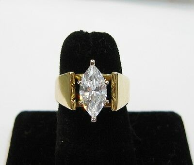 4K Yellow Gold Marquise Cubic Zirconia Ring Size 5 N279-M