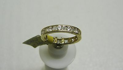 14K Yellow Gold Channel Set Baguette/Round Cubic Zirconia Ring Size 8 G32-R