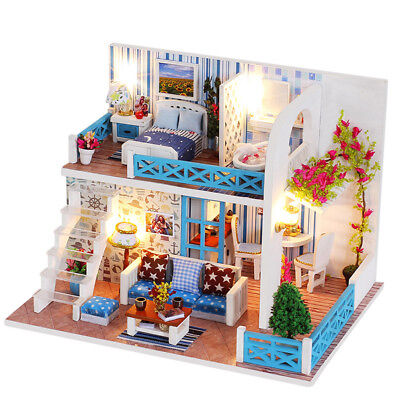 DIY Wooden Doll House Miniatures Kit Villa Dollhouse with LED Light + Dust Cover