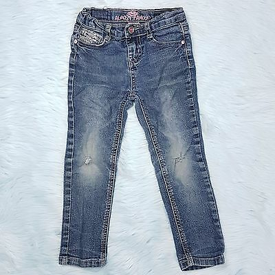 ALMOST FAMOUS Girls Sz 4T Adjustable Jeans Destroyed Distressed Bling Blue Denim