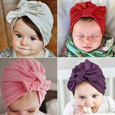 Baby Kids Cotton Turban Knot Comfy Bunny Ear Hat Headwrap Knot Head Band New gfj