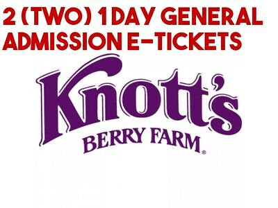 Knotts Berry Farm e-tickets - 1 Day General Day Admission (Total of 2 e-tickets)