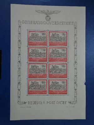 WWII Third Reich Occup. Generalgouvernement Rare Sheet Castlle MNH  Nr 1