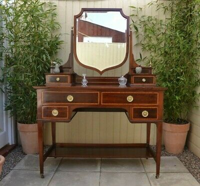 Lovely Antique Edwardian Inlaid Dressing Table Shield Mirror Mahogany Quality