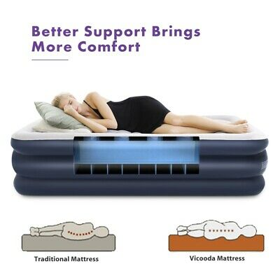 2 Size Inflatable High Raised Double Air Bed Mattress Builtin Electric Pump Beds