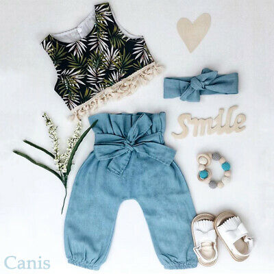 Toddler Baby Girl Clothes Tassel Crop Top T-Shirt+ Bow Pant Trousers Outfits Set