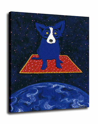 Blue Dog cartoon art painting home decor HD print canvas wall art picture 12X16