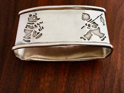 - Webster Co. Sterling Silver Napkin Ring: Teddy Bear / Fishing Cat No Monograms