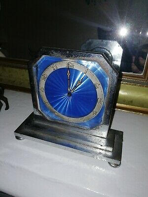 Art Deco 8 day Swiss Enamel Mantel clock Blue 1920 very rare needs service
