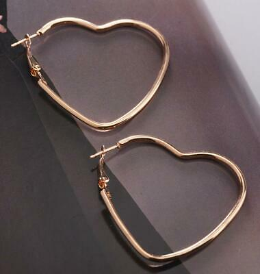 Pair of Big Silver Gold Plated Hoop Earrings Large Heart Chic Hoops Jewelry Gift