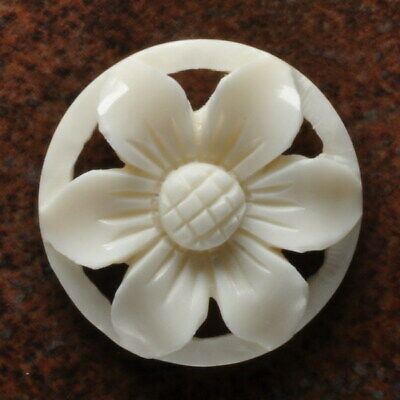 Hand Carved Flower Natural Buffalo Bone Pendant Bead 30X30X5Mm