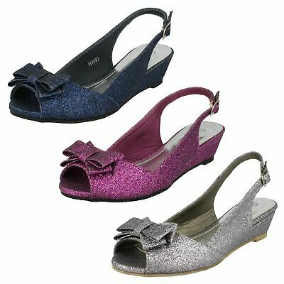 Girls Spot On Mid Wedge Bow Trim Buckled Slingback Glitter Sandals H1R090