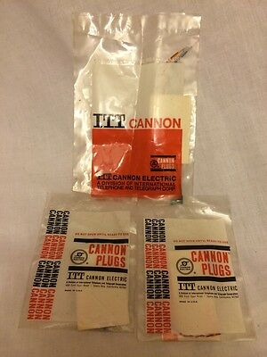 3 Lot Vintage Electrical Connection Assembly ITT Cannon Plugs NOS
