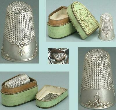 Antique French Silver Flower Band Thimble w/ Waffle Knurling * Circa 1900s