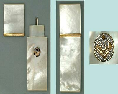 Antique Mother Of Pearl Palais Royal Needle Case w/ Pansy Seal * Circa 1820