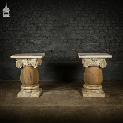 Pair of 19th C Marble Capitals Column Components with Reclaimed Hardwood Pillars