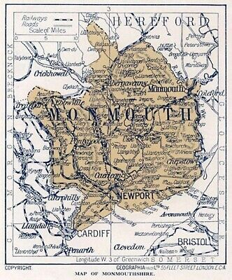 1923 map of Wales: old county of Monmouthshire ready-mounted antique print SUPER