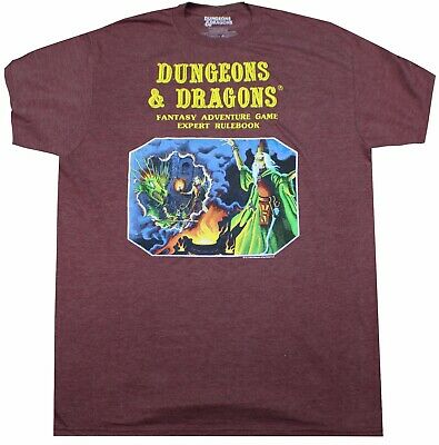 4c30c04a Dungeons And Dragons T-Shirt Heather Burgundy Video Game Tee Mens Adult  Gamer
