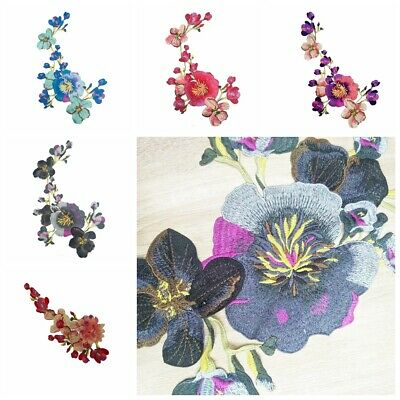 Embroidered Peony Flower Applique Iron On Sew On Patch Dress Clothing DIY New