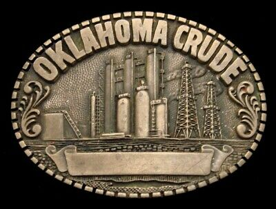 PF20156 GREAT VINTAGE 1980s ***OKLAHOMA CRUDE*** OIL DERRICK OILFIELD BUCKLE