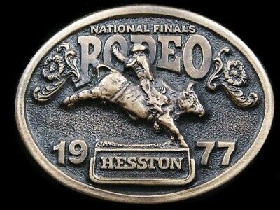 Rj05115 Used Nfr ***1977 National Finals Rodeo*** Hesston Collector Belt Buckle