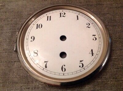 Clock Dial Ceramic In Chrome Bezel Needs Hinge Pin Ex Clockmakers Parts 121mm
