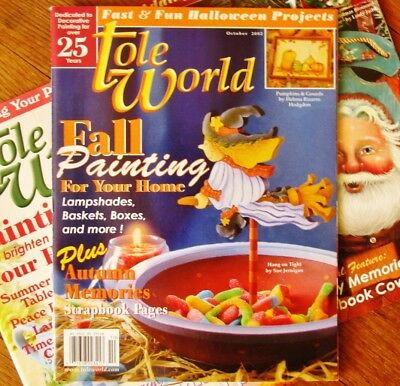 TOLE WORLD Magazine Lot of 3 Halloween,Christmas,Summer from '02&'03