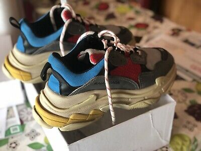 7453d32349 BALENCIAGA TRIPLE S Blue Red Yellow Size 42 US 9 Preowned With Box ...