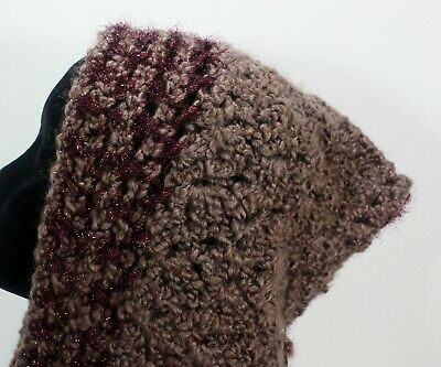 Meo Crocheted Hood Scarf Shawl Wrap Earth Wine Sparkle Gold Maroon Knit